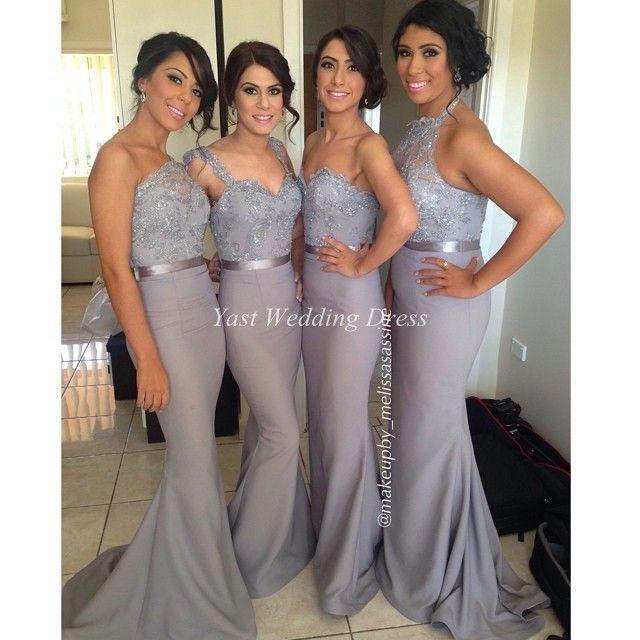 Серые платья! Специальный одно плечо блестящие аппликации створки платье высокое качество элегантный русалка атласная платье невесты