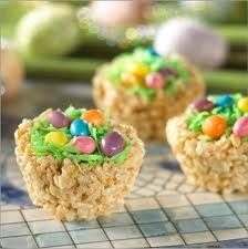 Rice Krispy Treat nests with coconut grass and jelly bean eggs: Desserts, Ideas, Birds Nests, Rice Krispies, Recipes, Easter Eggs, Easter Baskets, Easter Treats, Rice Krispie Treats