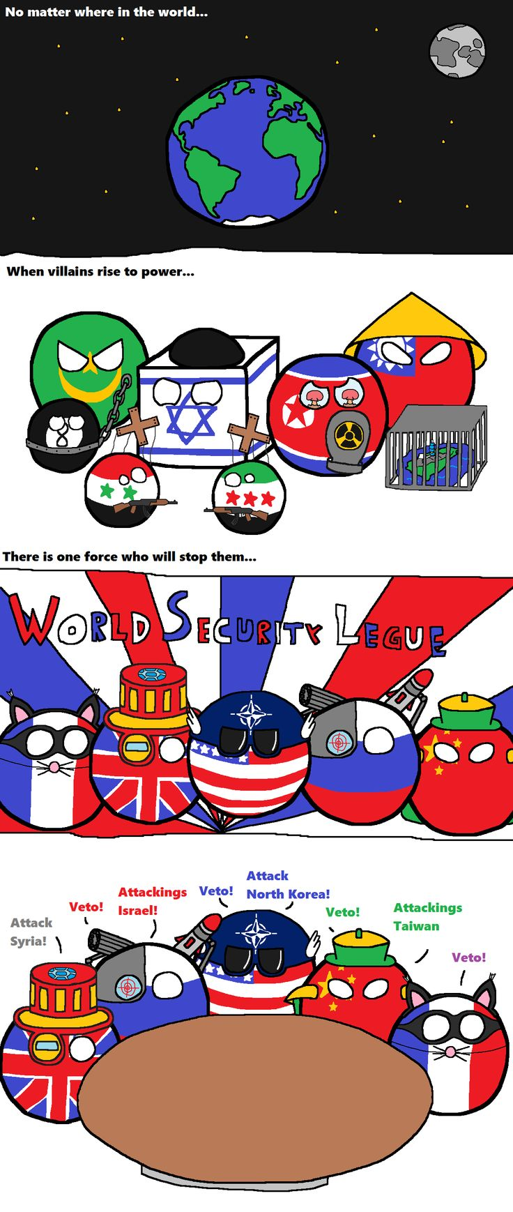 World Security League ( Mauritania, Israel, Syria, North Korea, Taiwan, France, UK, USA, Russia, China ) by malta3  #polandball #countryball
