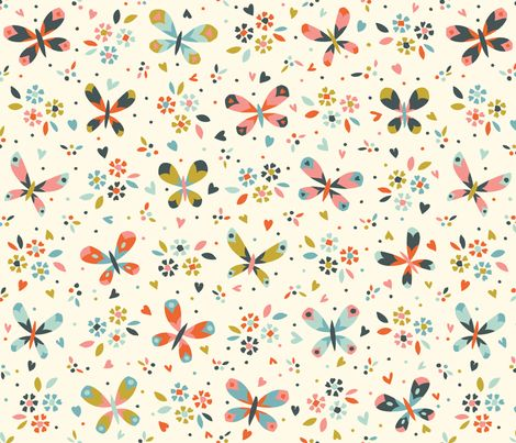 butterflies and flowers fabric by petite_circus on Spoonflower - custom fabric