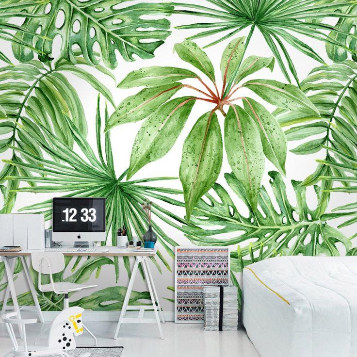 Les 25 meilleures id es de la cat gorie salons tropicales sur pinterest d c - Papier peint vert kaki ...