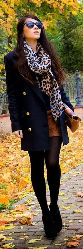 ADORABLE!!!! super cute for early autumn just as the weather's getting cooler. shorts, tights, a nice top with a cute jacket & scarf. the wedges add a sophisticated touch.