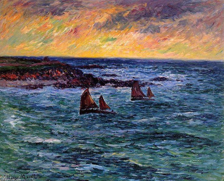 """""""Soir, rentrée à Audierne"""", huile sur toile de Henri Moret (1856-1913). Les chaloupes portent leur tapecul de cape...Il ya du vent dehors"""