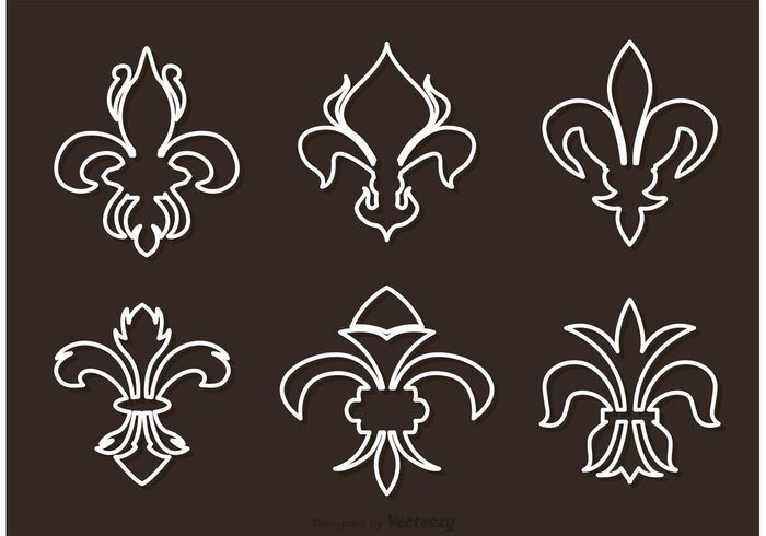 Free vector Fleur De Lis White Outline Vectors #23734