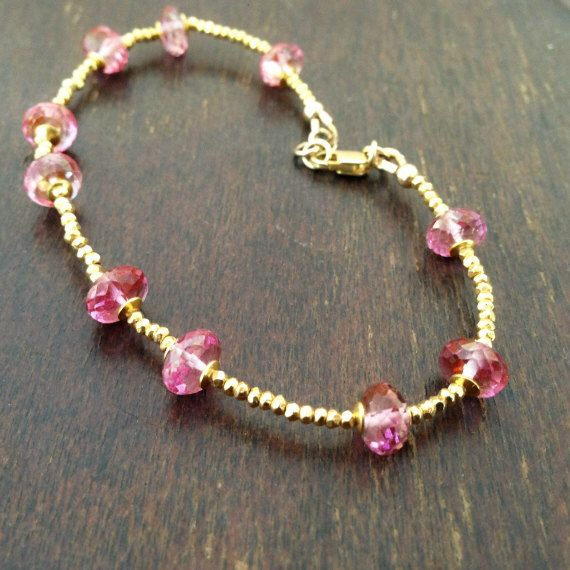 A personal favorite from my Etsy shop https://www.etsy.com/listing/160331510/pink-topaz-bracelet-gold-vermeil