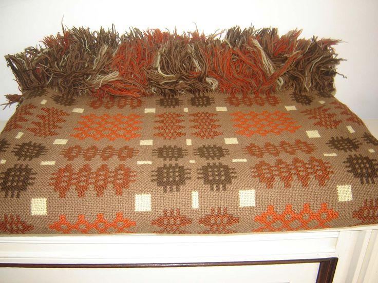 Vintage Large Welsh Wool Blanket CAMBRIAN MILLS LLANDYSSUL Rustic Colours , £165.00