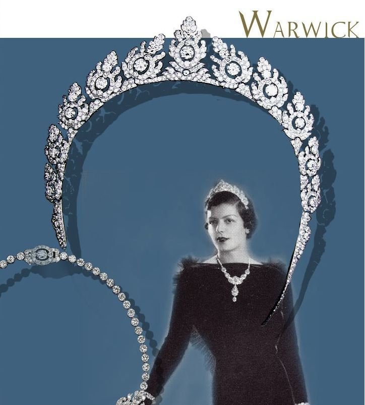 A closer look at the art deco 'halo' tiara worn by Rose Greville, Countess of Warwick, nee Bingham. Designed as a series of eleven diamond floral motifs, each with a large circular diamond at its centre. Image courtesy of Royal Magazin, Ursula's brilliant site.