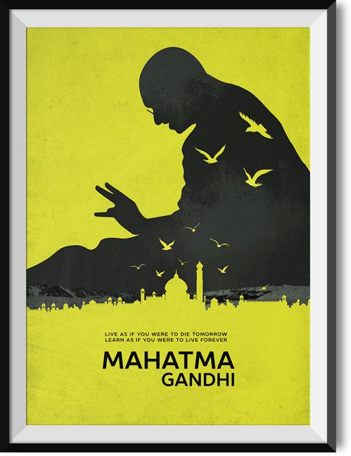 """Gandhi """"Live forever"""" quote poster"""