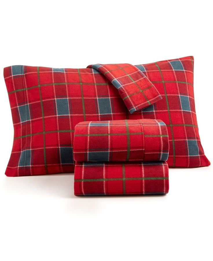 Martha Stewart Collection 4-Pc. Plaid Fleece California King Sheet Set, Created for Macy's