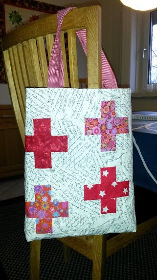 Bag with red crosses for Danish Red Cross