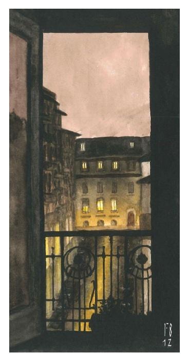 Milan, Brera (take two)  Watercolour by night