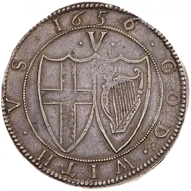 Commonwealth (1649-60), silver Crown, 1656, second 6 struck over 4 Commonwealth (1649-60), silver Crown, 1656, second 6 struck over 4. English shield within laurel and palm branch, legends in English language, initial mark sun.THE. COMMONWEALTH. OF. ENGLAND., the second N struck over an inverted N, rev. English and Irish shields, value .V. above, beaded circle and legend surrounding, date at top, GOD. WITH. VS., 29.77g (cf.Bull 13; ESC 9; N 2721; S 3214; KM 392). Attractively toned, a little…