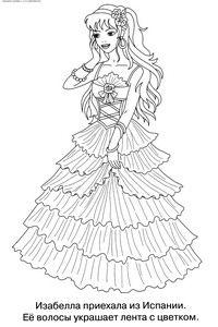 Принцесса Изабелла - скачать и распечатать раскраску. Раскраска Волосы украшает лента и цветок, раскраски красивые девочки, раскраски для девочек