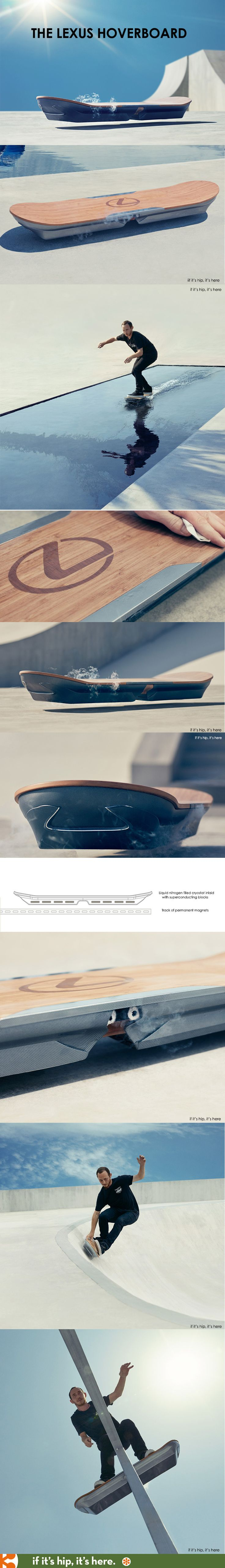 "Everything You Need To Know About The Lexus Hoverboard - The device uses magnetic levitation with liquid nitrogen-cooled super-conductors and permanent magnets to ""give the hoverboard frictionless movement of a kind that had been thought impossible"" according to Lexus - the prototype will debut Oct. 21.2015 - however magnets underneath the surface of the floor are needed for the board to work #cooltech...x"