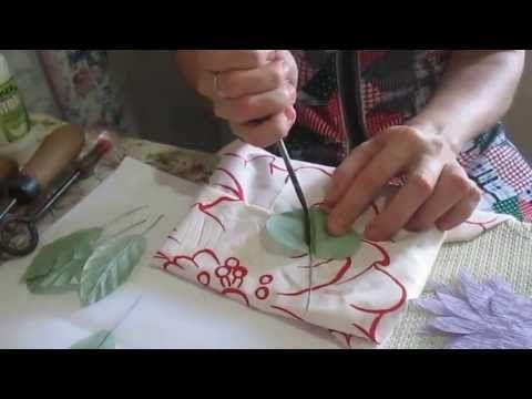 Цветы из ткани. Обработка листиков инструментами ( 2 часть)