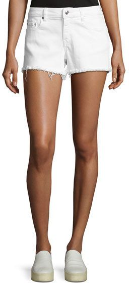 Derek Lam 10 Crosby Quinn Mid-Rise Slim Girlfriend Jean Cutoff Shorts, White