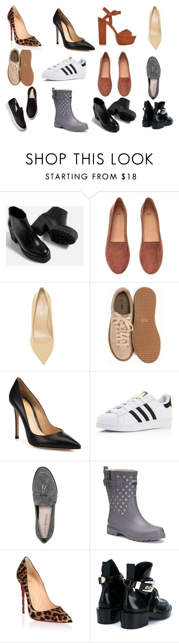 """база обувь"" by solnce1109 on Polyvore featuring мода, Piel Leather, H&M, Ivanka Trump, Nly Shoes, Gianvito Rossi, adidas, Via Spiga, Chooka и Christian Louboutin"