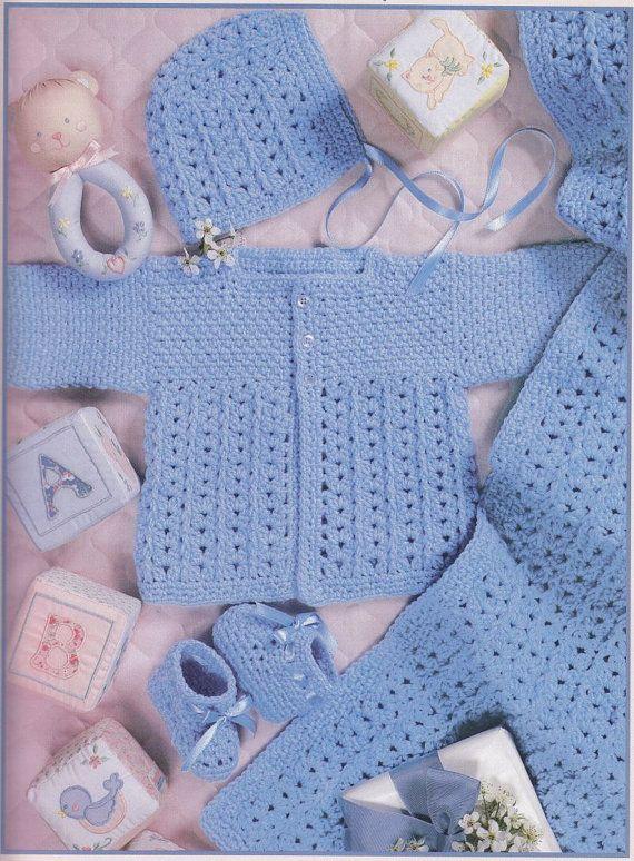 Crochet Baby Layettes Crochet Patterns - 3 Lacy Sets #crochet