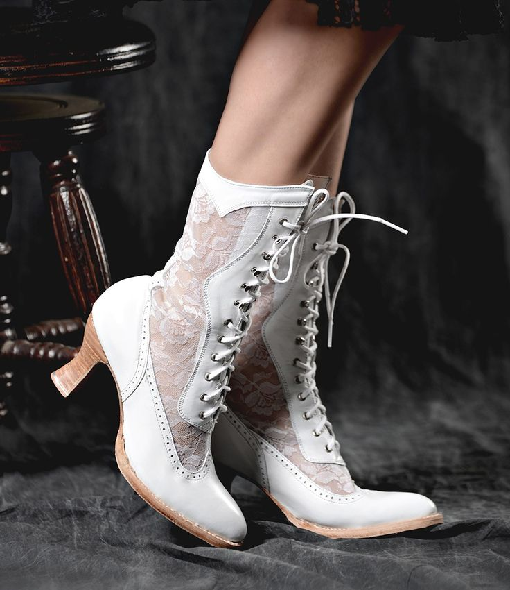 Victorian Inspired Leather & Lace Boots in White | Traditional Wedding Boots | Steampunk | Rustic | Country | Western | Bohemian | Vintage | Gothic | Bohemian | Oak Tree Farms