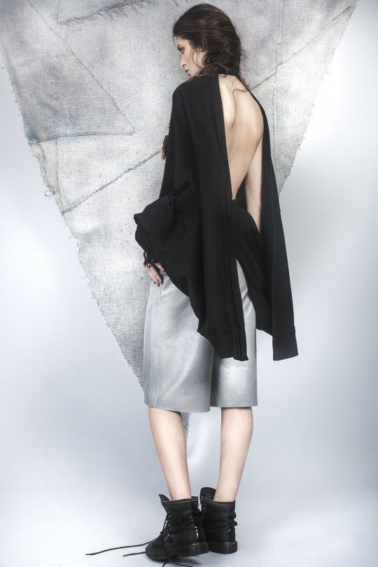 #ALMAZ Backless Cardigan /// Leather Boxer Short
