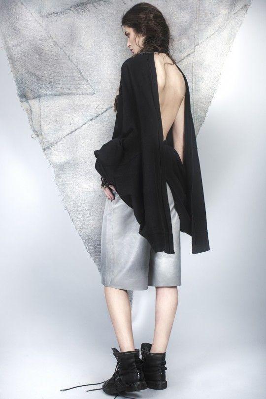 #ALMAZ Backless Cardigan /// Leather Boxer Short
