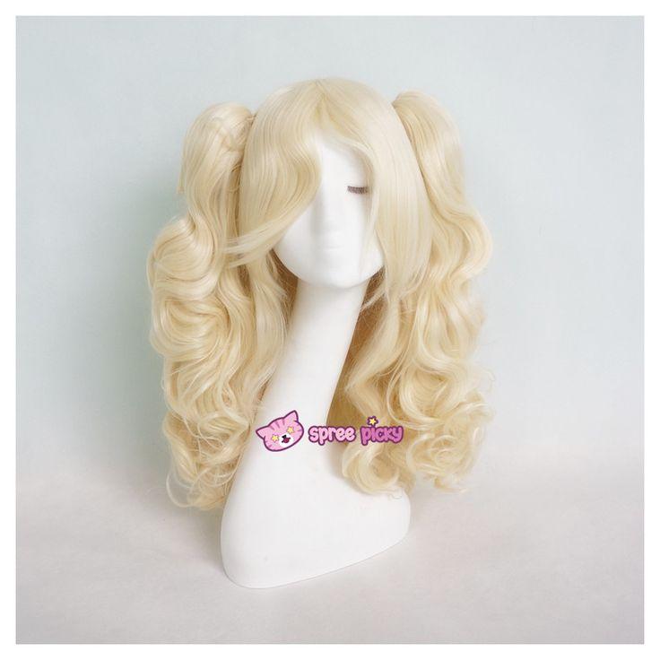 Lolita Harajuku Cosplay Light Gold Wig with 2 Pony Tails 3 Pieces Set SP130184