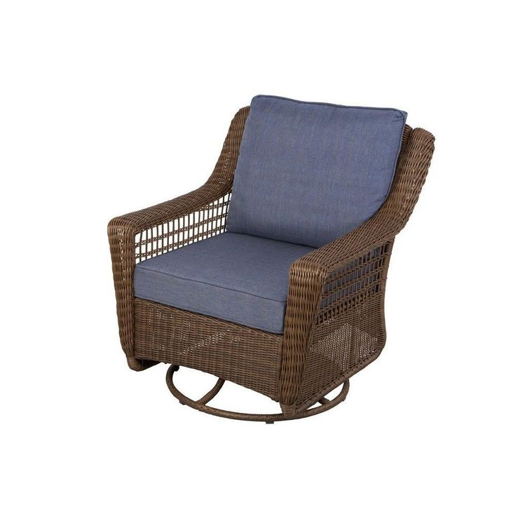 Outdoor Lounge Chair Swivel Rocking Brown Wicker Blue Cushions Seat Porch Patio  #HamptonBay