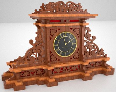 Mantel clock, scroll saw fretwork pattern