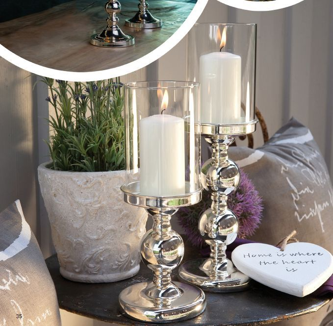 Windlicht / Kerzenhalter bauchig, glatt poliert -versilbert- Wirliebendeko.com Bezahlbarer Luxus in Silber!