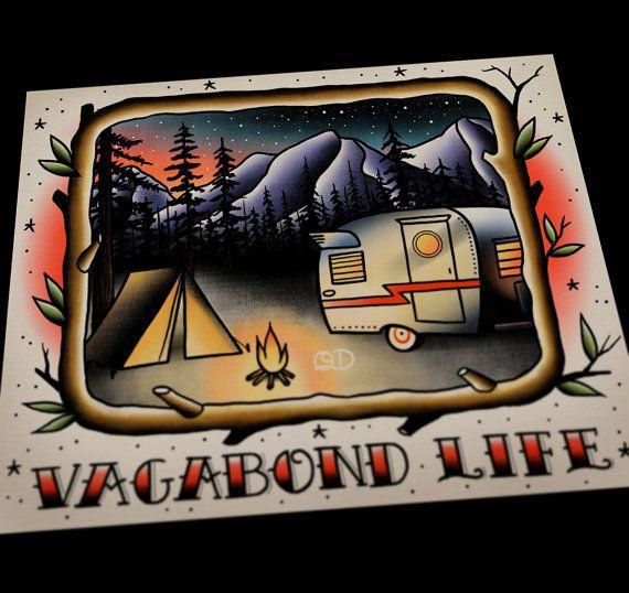 "Vagabond Life Print 11""x14"" $32.00 by Parlor Tattoo Prints on Etsy"