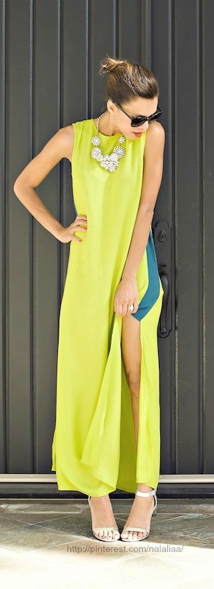 J. Crew Citron scallop dress, Crew jeweled bib necklace, J. Simpson turquoise bag, red lip, dark sunnies and Steve Madden nude ankle strap heels.