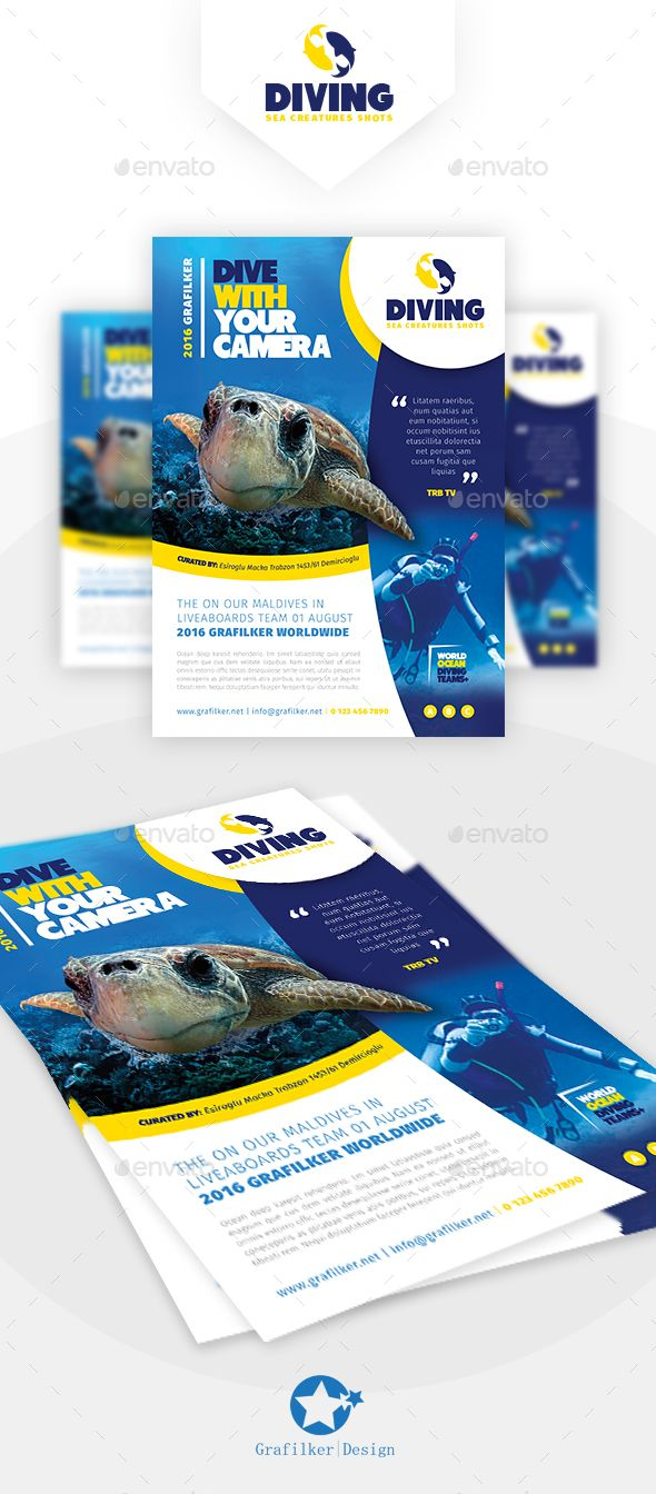 Ocean Diving Flyer Design Templates - Corporate Flyer Template PSD, InDesign IND...