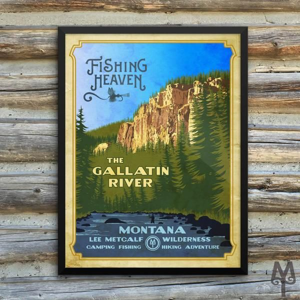 A contemporary poster in the WPA style that commemorates Montana's Gallatin River and Fishing Heaven.   Each poster measures 18 inches by 24 inches; is made on thick, durable, matte, archival, acid-free paper.   The frame is black and made of Alder (a semi-hardwood), lightweight, and 0.75 inches thick. The poster is further protected with a clear peace of Acrylite glass. Hanging hardware is attached.  Designed in Montana. Printed in the USA.