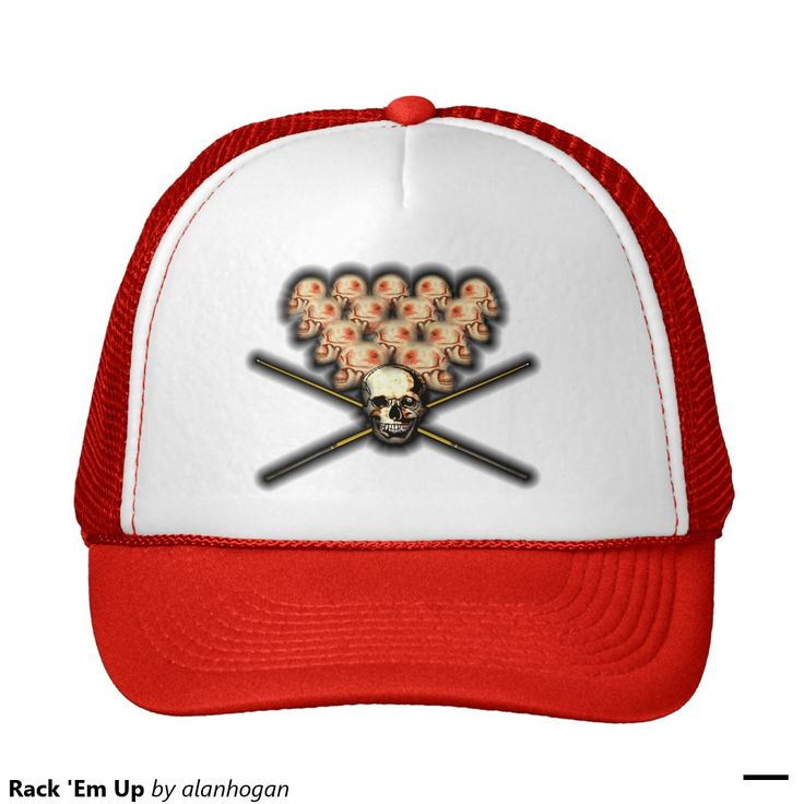 'Heads will roll!' Trucker Hat. #trucker #pool #poolshark #skulls #headgames #headswillroll #sports #bar #hats #caps #red #poolcues #8ball #player #zazzle #headgear #sportsdude
