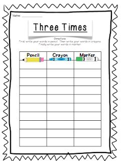 Spelling packet bits of first grade brigid 39 s daily for Rainbow writing spelling words template
