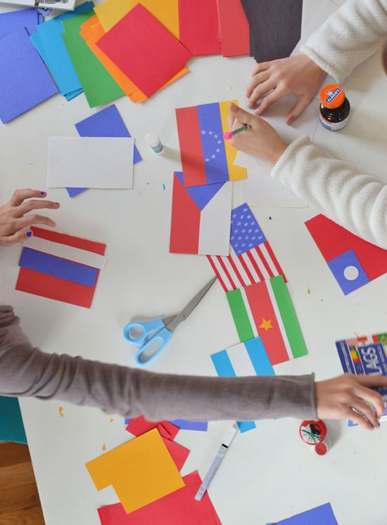 craft table: olympic flag garland! learn about the world ~ sochi 2014 | {art bar} for smallforbig