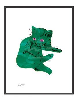 andyCat Posters, Kids Room, Warhol Cat, Artists Inspiration, Untitled 1956, Art Kids, Andy Warhol, 1956 Green, Green Cat