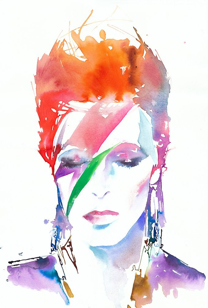Good Monday Everyone' We're all sad to hear of David Bowie's death. Fairy Mary and I would like to pay tribute to him with this wonderful pic that she found. He wore wild and colorful  clothes. So lets do Purple, Orange and White today' Enjoy' xoxo  David Bowie by Cate Parr