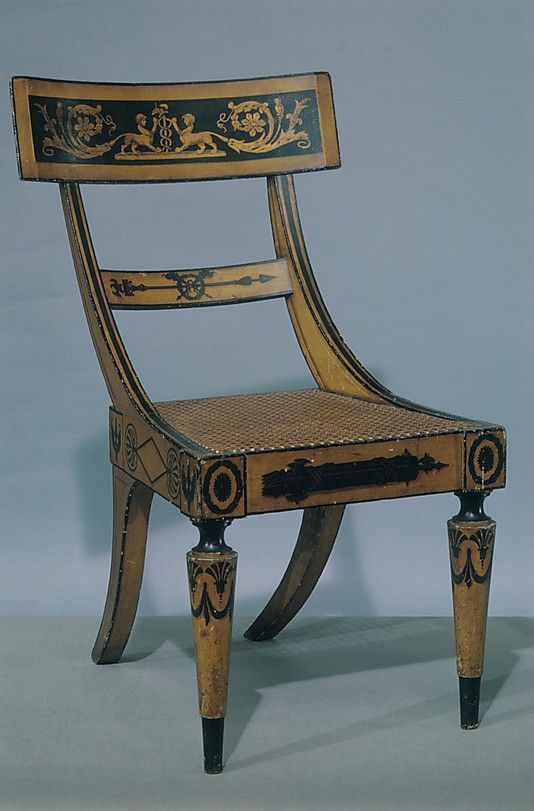 Fancy Paint-Decorated Side Chair attributed to John Finlay (Active ca.  Baltimore, Maryland, ca.