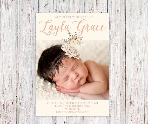 Baby Girl Floral Script Modern Baby Girl Birth by LiviLouDesigns
