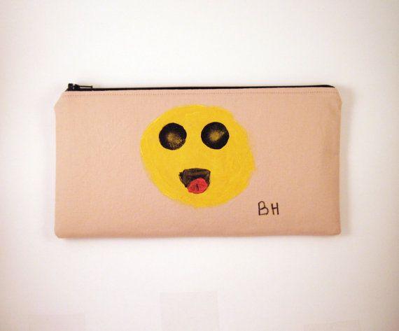 Zipper Pouch, Pencil Pouch, Gadget Bag, Make Up Bag, Laughing Smiley Face