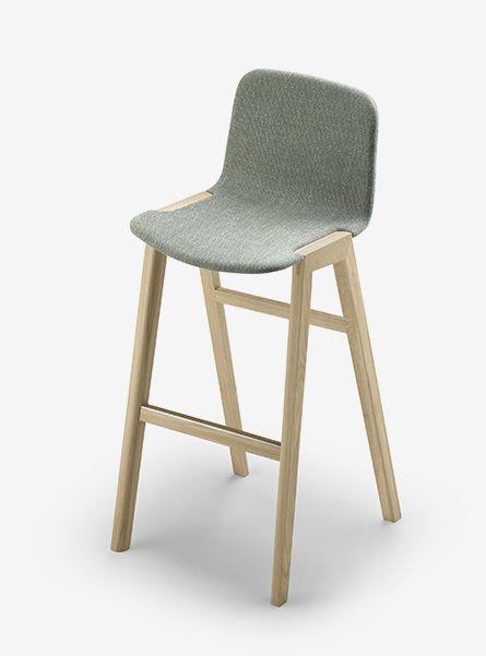 Alki Heldu Stool in Oak with High Seat in Fabric - Cosh Living