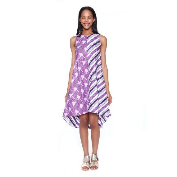 Ankara Print Dress, Summer Frock, Short Dress, Radiant Orchid and Lilac Ankara Dress, Purple and Lilac Print Two Tone dress