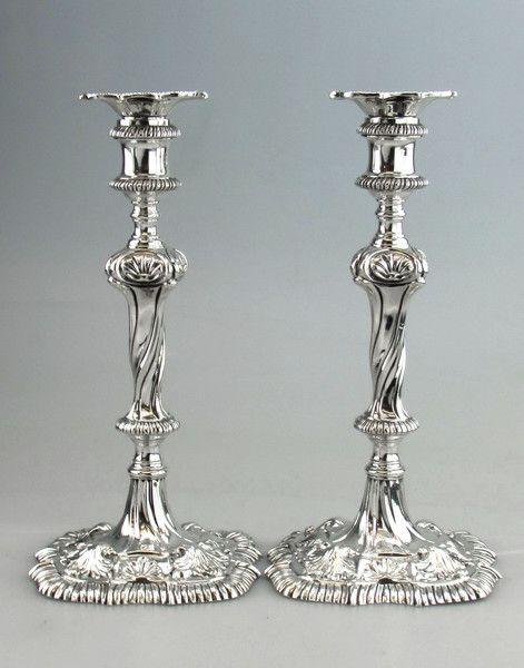 PAIR ANTIQUE GEORGE III GEORGIAN SILVER CANDLESTICKS LONDON 1764 Michael Sedler Antiques London Silver Vaults London, UK Antique Silver Dealer #antique #antiquesilver #sedlersilver #silver #london #candlelight #georgian