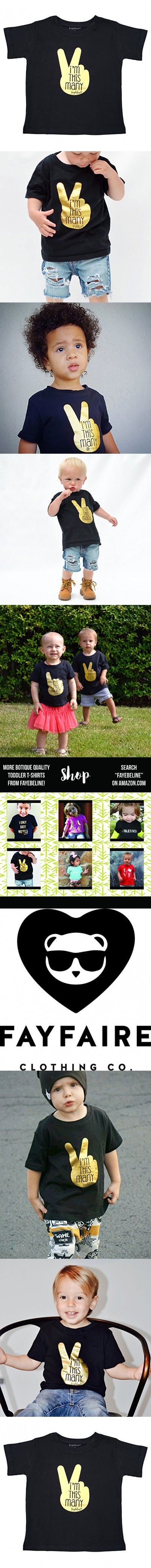 2nd Birthday Boy and Girl Outfit Shirt Fayfaire (formerly Fayebeline) Boutique Bday Toddler Tee I'm This Many Black Size 2T