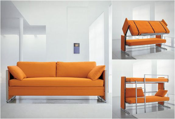 Sofa that turns into a bunk bed. Genius.: Bunk Beds, Sofas Bunk, Sofas Beds, Small Spaces, Guest Rooms, Daybeds, Studios Couch, Convertible Sofas,  Day Beds