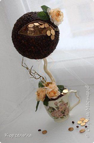 Бонсай топиарий Моделирование конструирование Кофейно-денежковое деревце топиарий Дерево Кофе Монета фото 1: