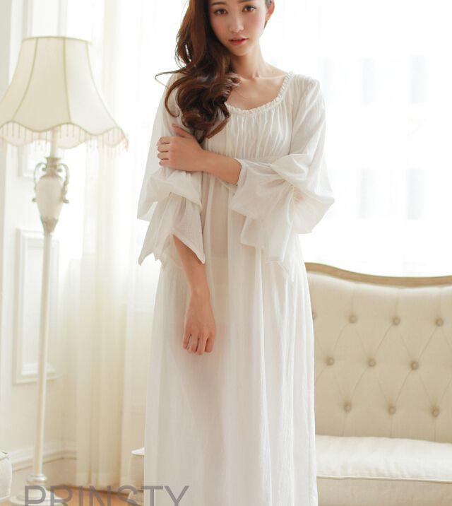 Free Shipping 100% Cotton Princess Style Women's Nightgown White Long Sleepwear Vintage Pajamas roupao feminino(China (Mainland))