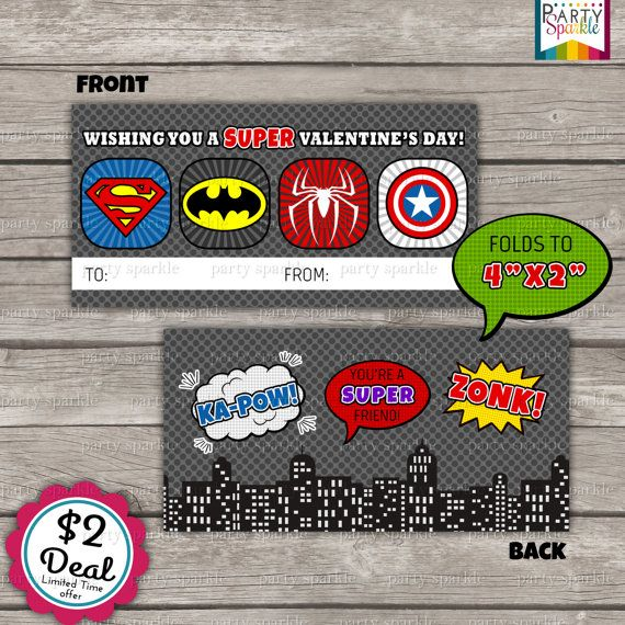 SALE - INSTANT DOWNLOAD - Superhero Treat Bag Toppers Holiday Favor Labels - Happy Valentines Day Party Digital pdf file on Etsy, $2.00