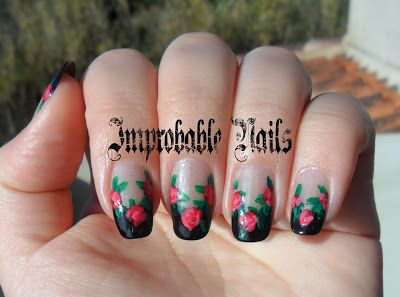 "Improbable Nails: ""Red Roses on Black French"" nails (inspired by Robin Moses)"